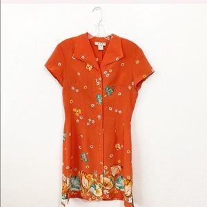 Mod Vintage Orange Floral Summer Dress